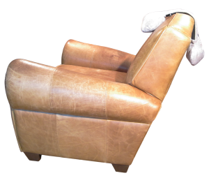 Body Prop pillow (aka Classic Prop pillow) positioned for head or neck support on leather club chair.